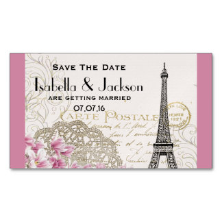 Vintage Eiffel Tower Collage Save The Date Magnetic Business Card