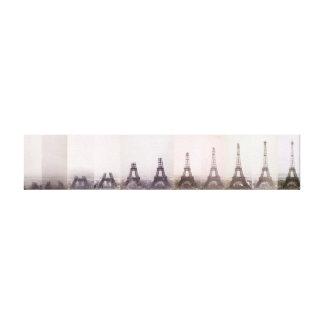 Vintage Eiffel Tower construction photo Paris Canvas Print
