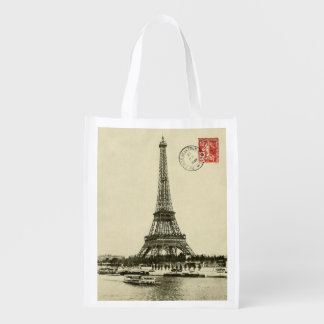 Vintage Eiffel Tower in Paris France Reusable Grocery Bag