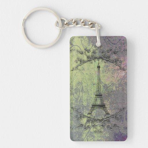 Vintage Eiffel Tower Rectangle Acrylic Key Chain