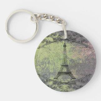 Vintage Eiffel Tower Single-Sided Round Acrylic Key Ring