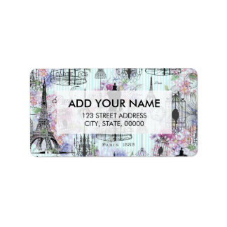 Vintage Eiffel Tower mannequin floral collage Label