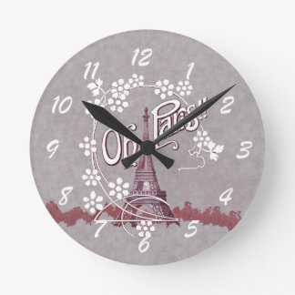 Vintage Eiffel Tower Oh Paris France Daisy Round Clock