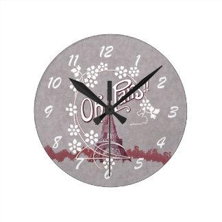 Vintage Eiffel Tower Oh Paris France Daisy Wall Clocks