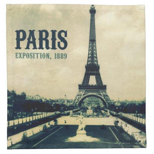 vintage eiffel tower  paris  1889 napkins