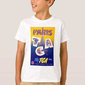 Vintage Eiffel Tower Paris Air Travel Advertising Tshirt