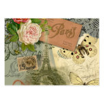 Vintage Eiffel Tower Paris France Travel collage Pack Of Chubby Business Cards