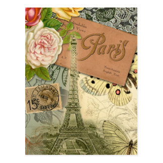 Vintage Eiffel Tower Paris France Travel collage Postcard