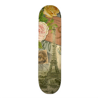 Vintage Eiffel Tower Paris France Travel collage Skate Decks