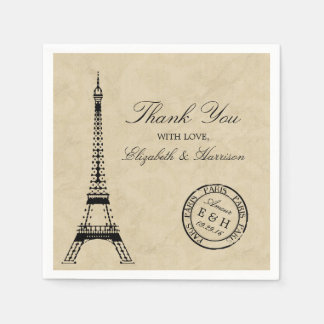 Vintage Eiffel Tower Paris Postmark Wedding Disposable Napkins