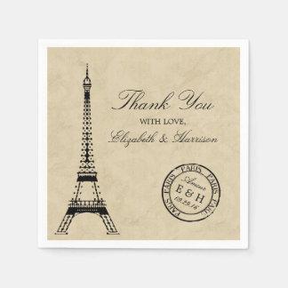 Vintage Eiffel Tower Paris Postmark Wedding Disposable Serviette
