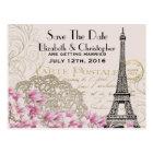 Vintage Eiffel Tower Parisian Style Save The Date Postcard