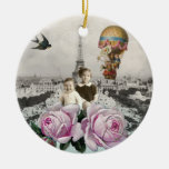 Vintage Eiffel Tower Pink Roses Hot Air Balloon Christmas Tree Ornament