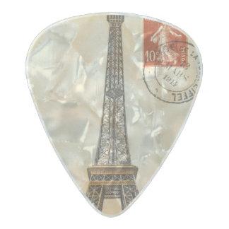 Vintage Eiffel Tower Postcard Clayton Guitar Pick Pearl Celluloid Guitar Pick