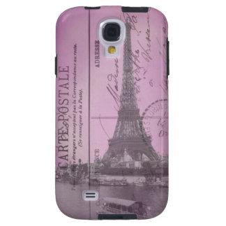Vintage Eiffel Tower Postcard in Pink Galaxy S4 Case