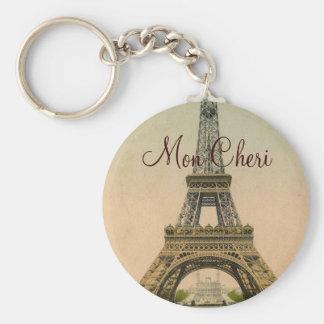 Vintage Eiffel Tower postcard Paris France Basic Round Button Key Ring