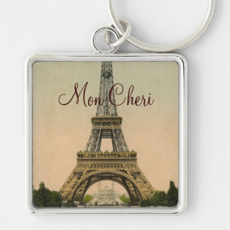 Vintage Eiffel Tower postcard Paris France Silver-Colored Square Key Ring
