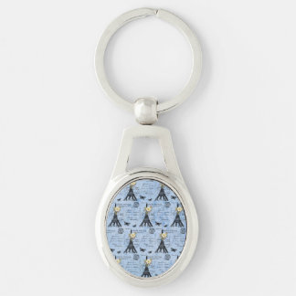 Vintage Eiffel Tower Postcards on Blue Silver-Colored Oval Key Ring