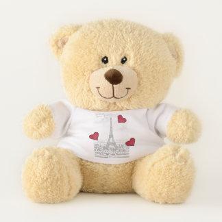 Vintage Eiffel Tower -red hearts Teddy Bear
