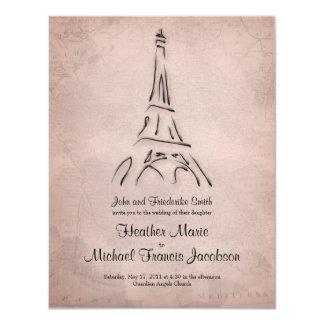 "Vintage Eiffel Tower Sepia Wedding Invitation 4.25"" X 5.5"" Invitation Card"