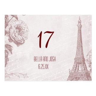 Vintage Eiffel Tower Wedding Table Card Postcard