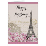 Vintage Eiffel Tower with Pink flowers Birthday Greeting Card