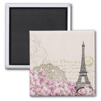 Vintage Eiffel Tower with Pink WildFlowers Square Magnet