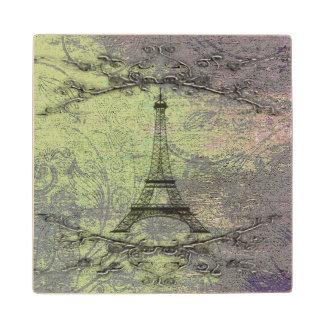 Vintage Eiffel Tower Wood Coaster