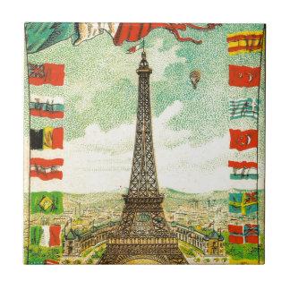 Vintage Eiffel Tower world flags Paris Armour Small Square Tile