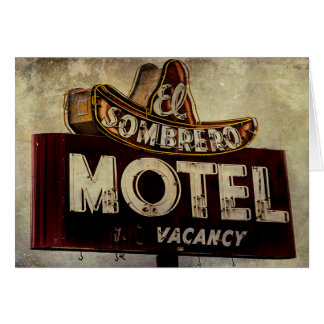 Vintage El Sombrero Motel Sign Greeting Card