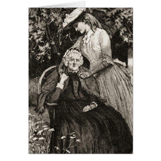 Vintage Elderly Mother and Daughter Card