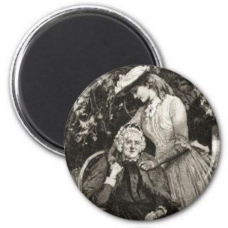 Vintage Elderly Mother and Daughter Fridge Magnets