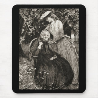 Vintage Elderly Mother and Daughter Mouse Pad