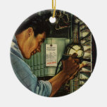 Vintage Electrician Examining Circuit Breakers Christmas Ornament