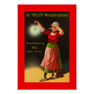 Vintage Electricity Dutch Philips 1910 Dutch Girl Poster