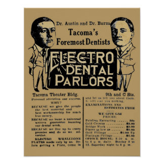 Vintage Electro Dental Palor Dentist Ad Poster