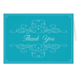 VINTAGE ELEGANCE | Blue Thank You Note Card