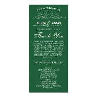 VINTAGE ELEGANCE   EMERALD WEDDING PROGRAM CUSTOM RACK CARD
