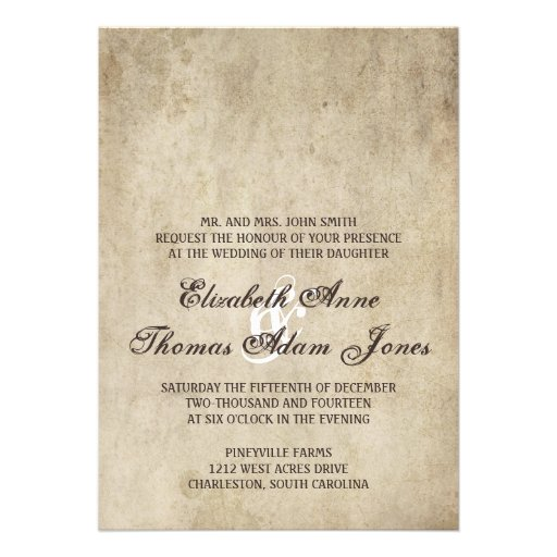 Vintage Elegance Plain Wedding Invitation