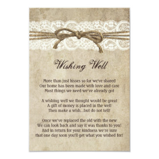 Vintage Elegance Twine on Lace Wishing Well Card 9 Cm X 13 Cm Invitation Card