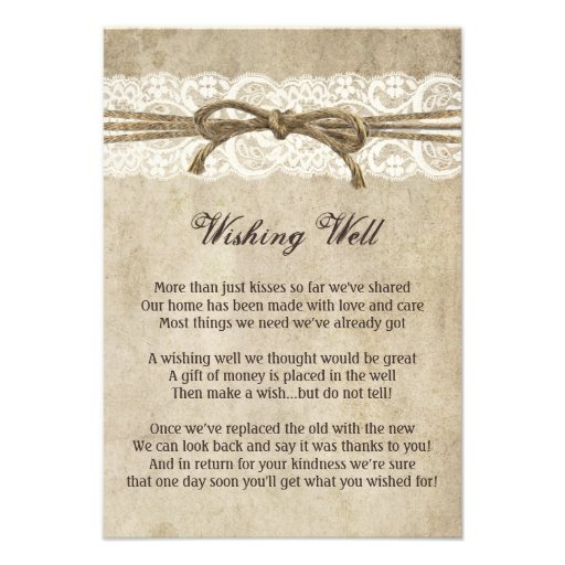 Vintage Elegance Twine on Lace Wishing Well Card
