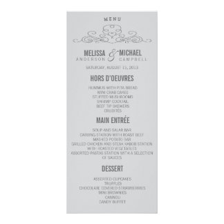 VINTAGE ELEGANCE WEDDING MENU CUSTOMIZED RACK CARD