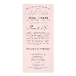VINTAGE ELEGANCE WEDDING PROGRAM RACK CARD