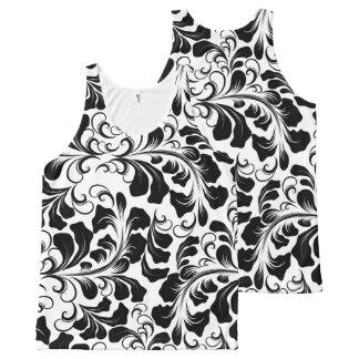 Vintage elegant black and white boho vines pattern All-Over print singlet
