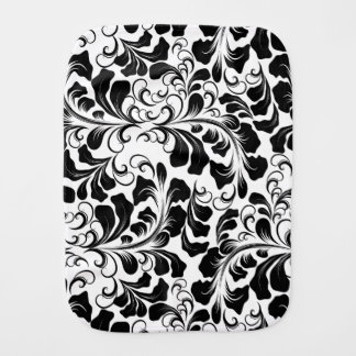 Vintage elegant black and white boho vines pattern burp cloth