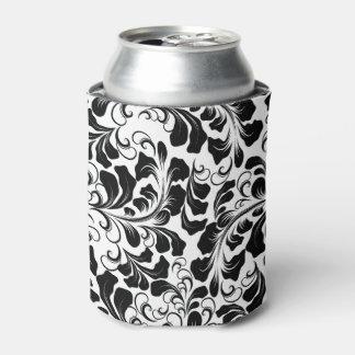 Vintage elegant black and white boho vines pattern can cooler