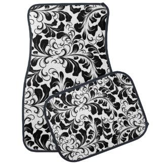 Vintage elegant black and white boho vines pattern car mat