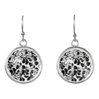 Vintage elegant black and white boho vines pattern earrings