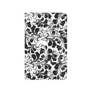 Vintage elegant black and white boho vines pattern journal