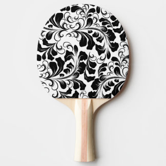 Vintage elegant black and white boho vines pattern ping pong paddle